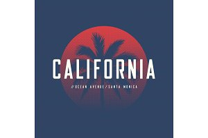 California Ocean Avenue t-shirt and apparel design with palm tre