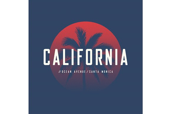 California Ocean Avenue T-shirt And Apparel Design With Palm Tre