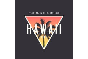 Hawaii Honolulu t-shirt and apparel design with rough palm tree,
