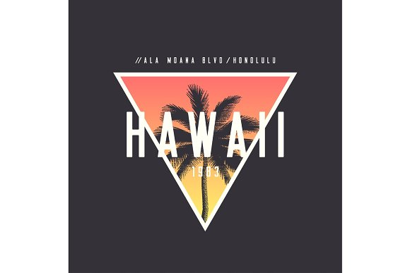 Hawaii Honolulu T-shirt And Apparel Design With Rough Palm Tree