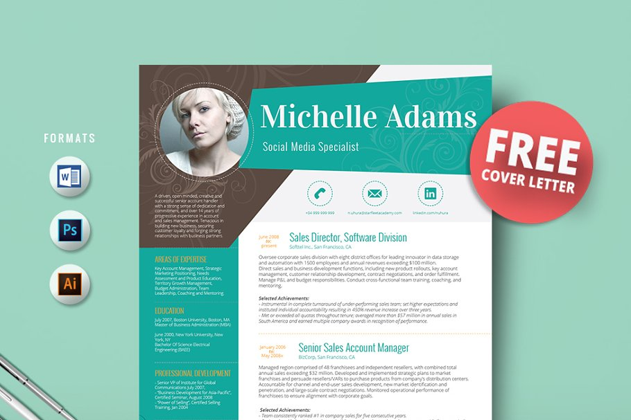 Resume template + FREE Cover Letter ~ Cover Letter Templates ...
