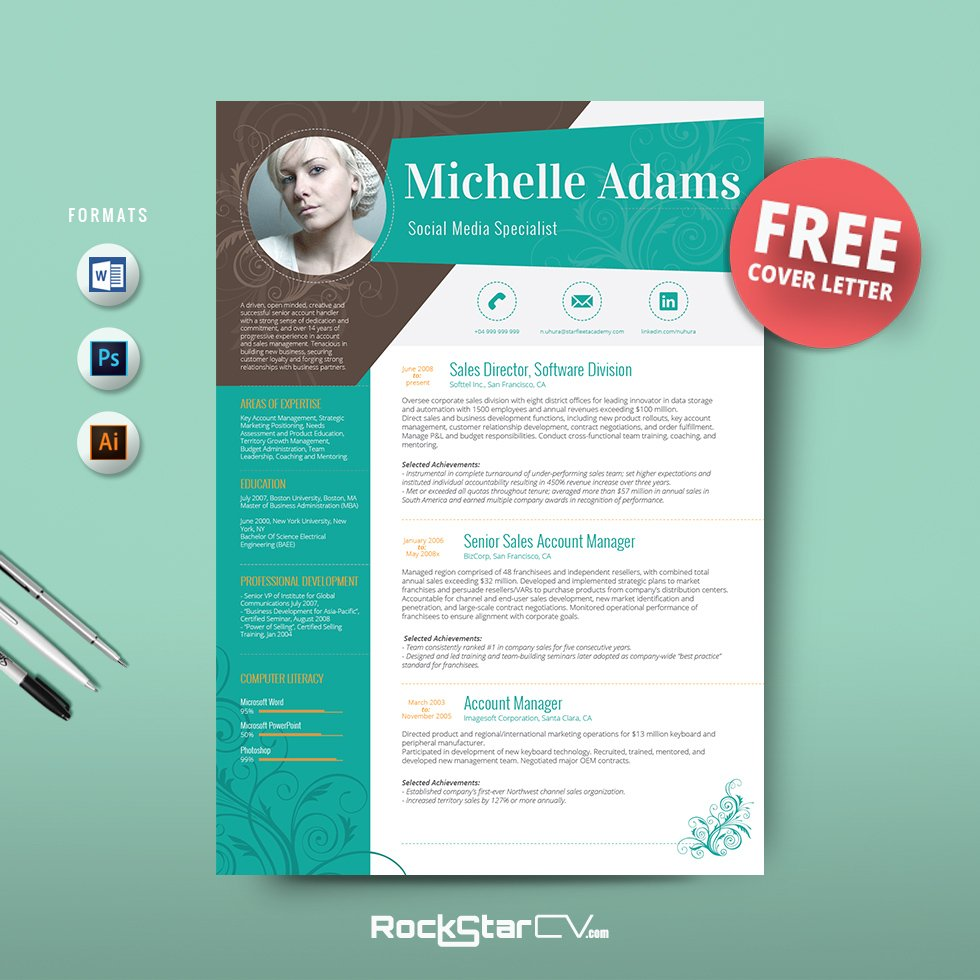 50 creative resume templates you wont believe are microsoft word resume template free cover letter yelopaper Gallery
