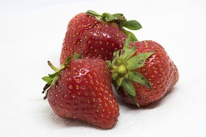 Three Ripe Strawberries