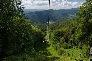 Cable car way in the mountains.