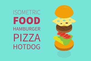Flat 3d isometric vector food