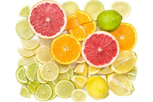 Fresh citrus fruits Orange lemon