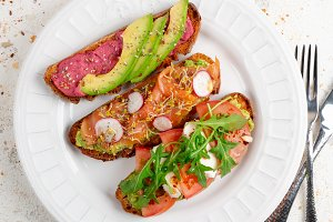 Healthy toasts in a dish