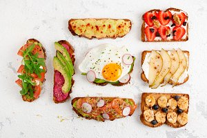 Assorted healthy toasts