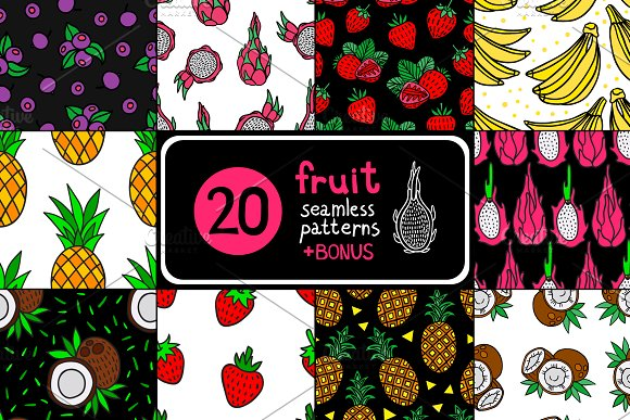 20 Fruit Seamless Pattern
