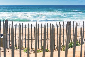 Wooden fence on an Atlantic beach in