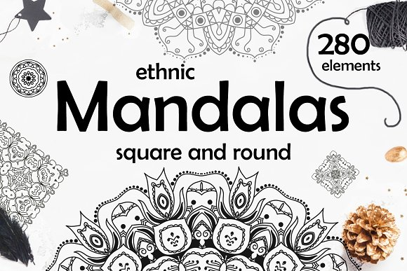 280 Ethnic MANDALAS Square And Round