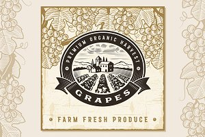 Vintage Grapes Harvest Label