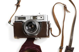 Vintage film photo-camera in case