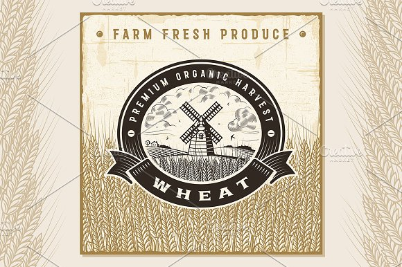 Vintage Wheat Harvest Label
