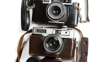 Antique film photo-cameras and cases