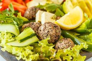tofu, beans meatballs vegan salad