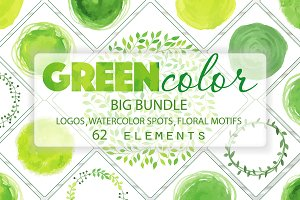Green Watercolor Vector Big Bundle