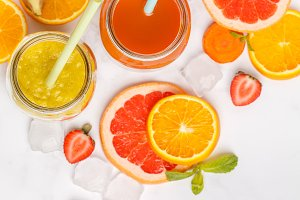 fruit juices or smoothies in glass