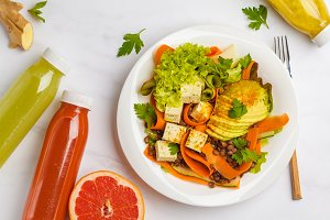 Vegan salad and detox juice