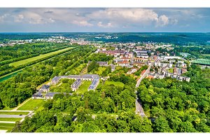 Aerial view of Fontainebleau and Avon. Seine-et-Marne department of France