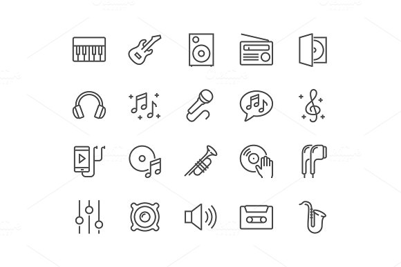 Line Music Icons