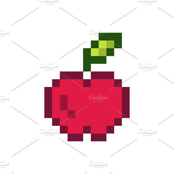 Red Apple Pixelated Fruit Graphic