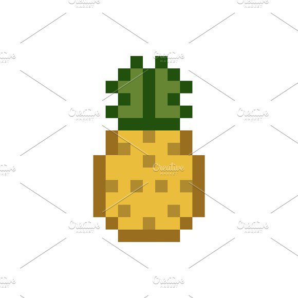 Pineapple Pixelated Fruit