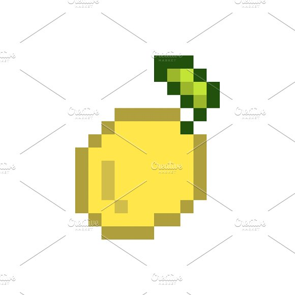 A Lemon Pixelated Fruit