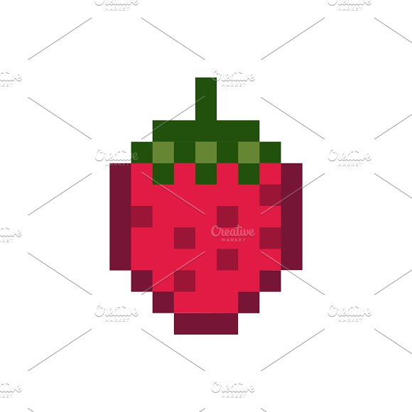 Strawberry Pixelated Fruit