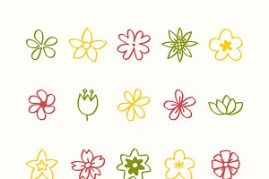 Illustration set of flower icons