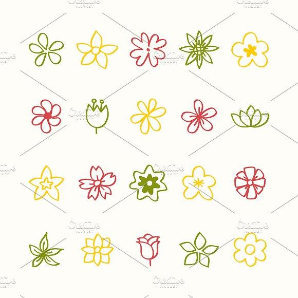 Illustration Set Of Flower Icons