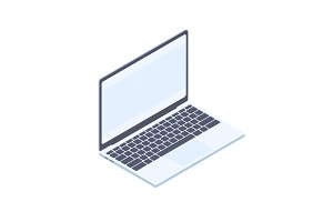 Isometric laptop isolated on white background.