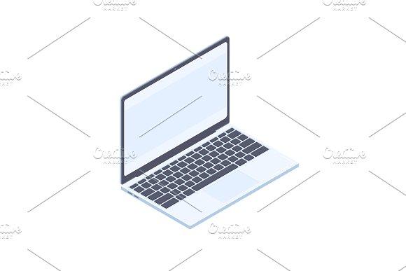 Isometric Laptop Isolated On White Background