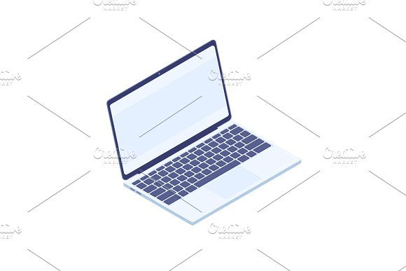 Isometric Laptop Isolated On White Background