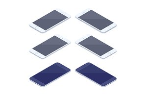 Isometric smartphone kit isolated on white background.