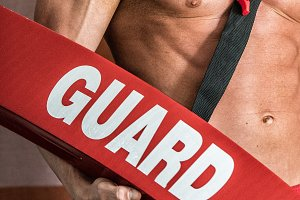 lifeguard with sexy strong body