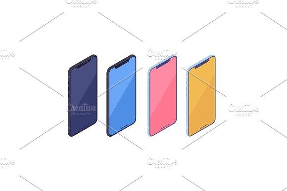Isometric Smartphone Kit Isolated On White Background