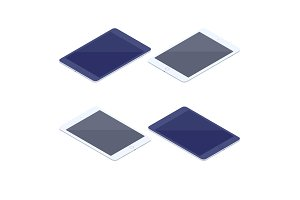 Isometric set of tablets isolated illustration.