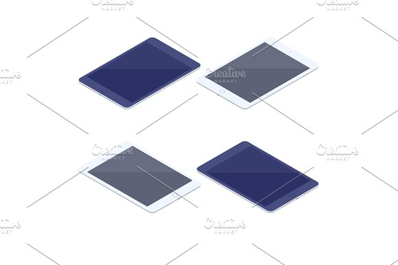 Isometric Set Of Tablets Isolated Illustration