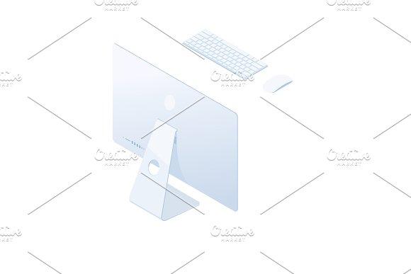 Isometric Desktop Computer Isolated On White Background