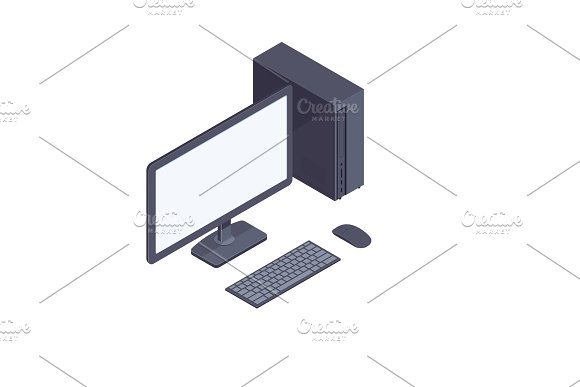 Black Isometric Desktop Computer Isolated On White Background