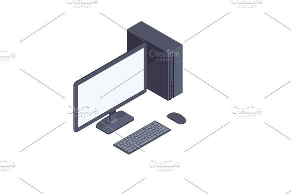 Black Isometric Desktop Computer Isolated On White Background