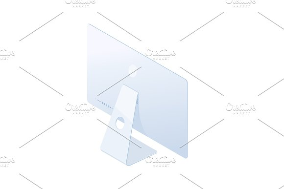 Isometric Desktop Computer Back Side Isolated On White Background
