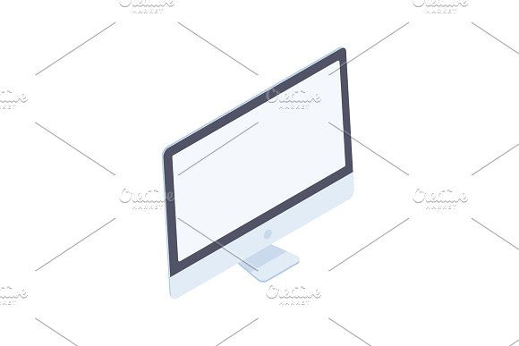Isometric Desktop Computer Isolated On White Background