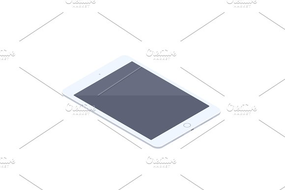 Isometric White Tablet Isolated Illustration