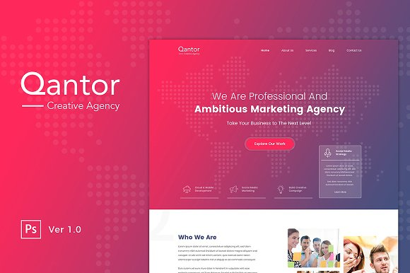 Qantor Creative Agency Office PSD