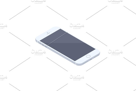Isometric White Smartphone Isolated Illustration