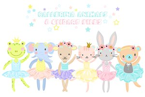 Cute Ballerina Animals Clipart