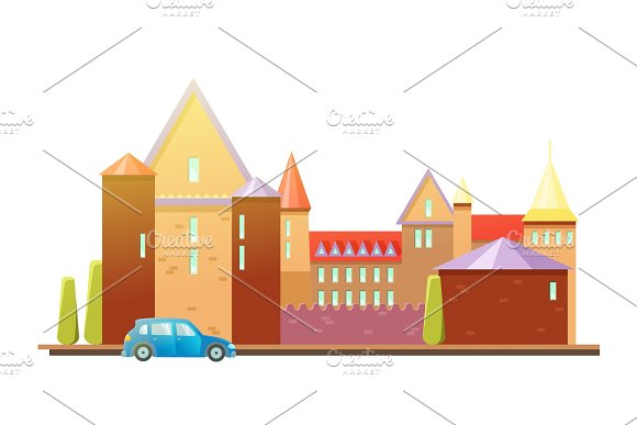 Medieval Castle With Fortified Wall And Towers Car