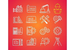 Outline web icons set - building, construction and home repair tools. Engineering line icon